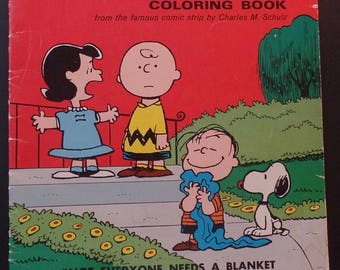 Peanuts Snoopy Charlie Brown Coloring Book Artcraft 1969 Uncolored Snoopy Lucy Linus