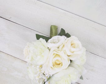 Wedding romantic elegant bridal bouquet classic round posy bouquet artificial silk flowers ivory cream peony rose rustic