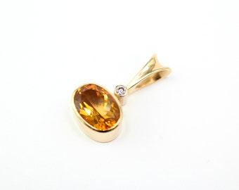14K Yellow Gold Citrine and Diamond Modernist Gemstone Pendant
