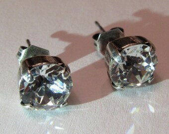 Crystal in Antique Silver Studs
