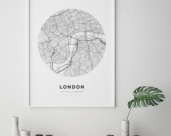 London Map Poster, City Map Print, UK Map Print, London City Map, London Map Print, United Kingdom, England Map Print, Circle Map Print
