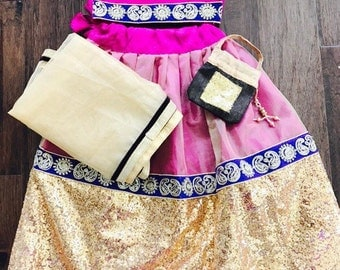 Kid Girls Magenta and Golden Lehenga Choli/ Girls Sequence Chaniya Choli/ Girls Indian Dress