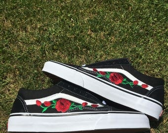 Red Rose Pink Rose Iron On Old Skool Vans Black Hand Made One of A Kind Men Women Gift DIY Black White Patch Tumblr Shoes