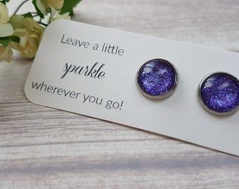 Glitter earrings purple, Birthday gift for aunt, Purple stud earrings, Purple earrings for sensitive ears, Sparkly earrings purple