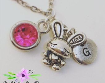 Year of the Rabbit Birthstone Charm Necklace Custom Handmade with optional initial