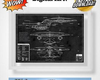 Star Trek USS Enterprise Quote Blueprint Digital Art!