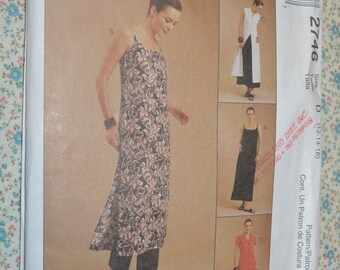 McCalls 2746 Misses / Miss Petite Slipdress Dress and Pants Sewing Pattern - UNCUT - Size  12 14 16