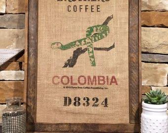 Framed burlap coffee sack bag