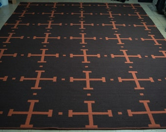 David Hicks-Inspired/Mid Century Reversible Area Rug - 100% Wool