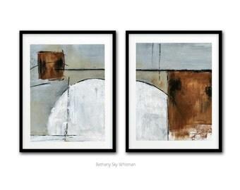 Abstract Art Print Digital Download Set Of Two Printable Art Gray Black Rust Modern Contemporary Urban Painting Interior Design Wall Decor