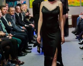 Sale! La Luna natural silk lace maxi dress black dress