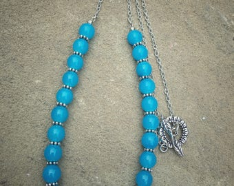 Blue glass bead necklace, Sky Blue Necklace, Blue bead necklace, Blue Statement Necklace
