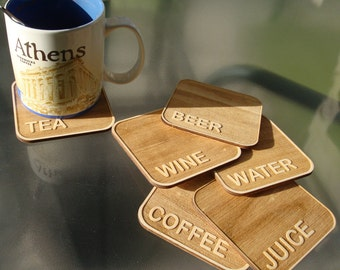 Personalised Coaster With Holder - Personalised Wood Coaster - Add Any Name, Date or Phrase!