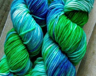 Hand Dyed Yarn | Worsted Weight Yarn | Superwash Merino Wool Yarn - Turquoise - Teal - Blue - Green