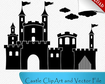 Castle vector file, Castle Silhouette, Nursery, Castle Clipart, Cut Files for Vinyl Cutters, Vector digital download svg, dxf, eps, png