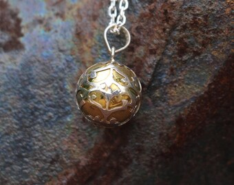 Mexican Bola, Bola Necklace, Harmony Ball Necklace, Chime Ball Necklace, Pregnancy Gift, Silver Necklace, Silver Sphere, Pendant, JP0002