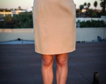Vintage Escada Wool Knee Length Pencil Skirt withUnique Art Deco Detail