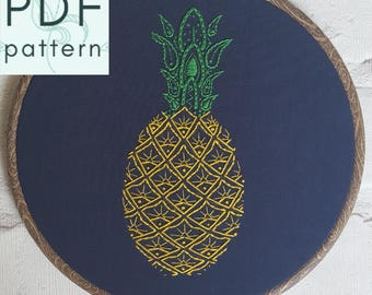 Paisley Pineapple Embroidery Pattern - PDF - Hand Embroidery - Contemporary Embroidery & Hoop Art - Instant Download