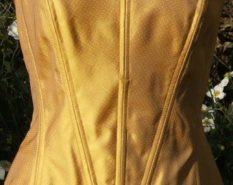Yellow / Gold Silk Coset UK size 12