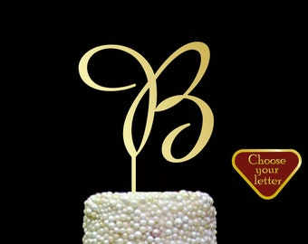 Letter B Cake Topper, initial cake topper, gold wedding cake topper, cake toppers single letter gold, cake topper wedding letter b, CT#099
