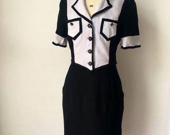 Unique 1970s/80s Genuine Vintage Monochrome Tuxedo Dress