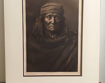 "Edward S. Curtis Photogravure ""Eskadi - Apache"""