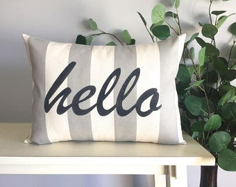 Hello Pillow, Decorative Pillow, Rustic Home Decor, Accent Pillow