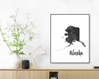 WATERCOLOR Alaska Map Print, Alaska State Silhouette Watercolor Black,Nursery Decor, Travel Gift, Rustic Wall Texture, Modern Wall Art Home