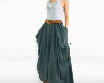 Dark Grey Cotton Maxi Skirt with Big Pockets - SK001
