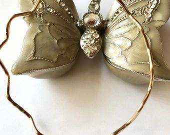 Gold Filled OR Sterling Silver Wavy Bangle With Butterfly Charm