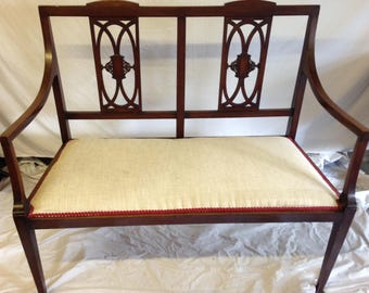Edwardian Salon Sofa Antique Mahogany Couch Parlour Bench