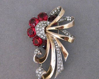Vintage Boucher Phrygian Vermeil Sterling Silver Red Crystal And Rhinestone Pin