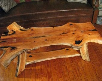 Rustic Book-Matched Honey Locust Coffee Table With Copper Accents