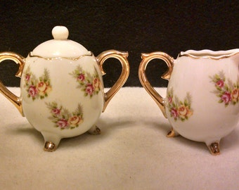 Vintage Enesco Small Creamer and Sugar Bowl