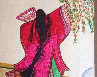 Oriental Woman Dancing with Fan