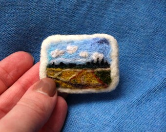 Felted brooch Van Gogh Field