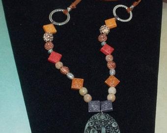 leather bohemian pendant necklace