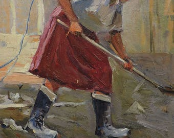 Sale 30% MID CENTURY ART Vintage Original Oil Painting by M.Borymchuk Female Figure, Woman's Portrait, Genre painting, Soviet Art SocRealism