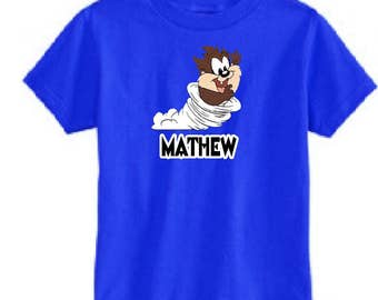 Personalized Baby Taz  Youth shirt/Kids Looney Tunes shirt/Add your name
