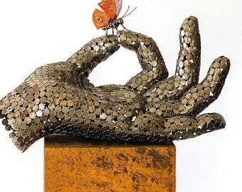 "Metal Hand Sculpture ""Feeling"""