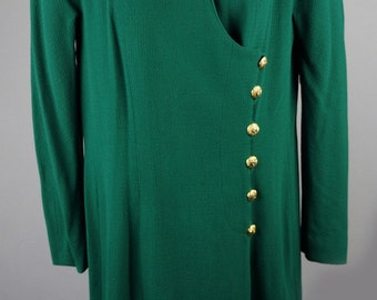 20% OFF SALE! Chanel Vintage Green Peter Pan Collar Long Wool Coat with Gold Buttons and Fully Lined