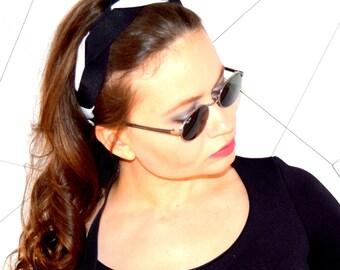 black headband, womens headband, ribbon headband, fashion hairband, elastic headband, hair accessory, tie headband, stretchy hairband, chic
