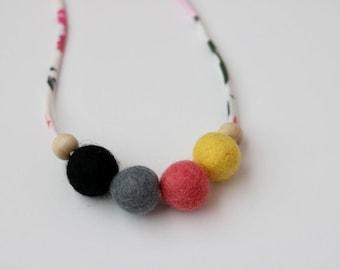 Summer Floral 1 - Children's Felt Ball Necklace