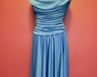 Vintage Ruche Blue Formal Dress