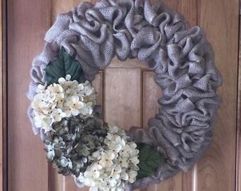 Hydrangeas and Burlap Wreath