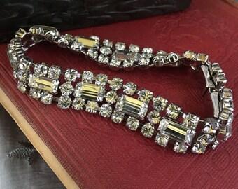 Vintage 1980s White Rhinestone Bracelet