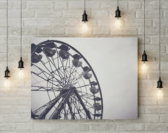 Ferris Wheel Photography-Carnival Photography-Metal Print Photography-Urban Photography-Unique Photography-Street Photography-Hipster Decor