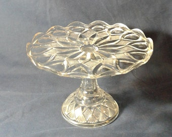 Vintage Pressed Glass Cake Stand, with Scalloped Edges