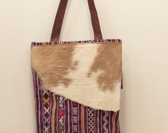 Bag of cow, leather and kilim