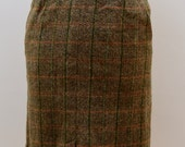 Vintage 1970s Grey Brown Tweed ALine Skirt  MidLength KneeLength Smart Office 70s Winter Warm MidWaist HighWaist